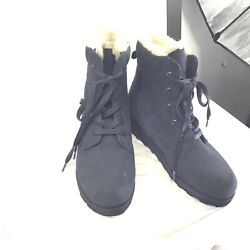 BEAR PAW Black Navy Phoebe Suede Sheepskin Lace Up Hiker Boot New size 9 $24.80
