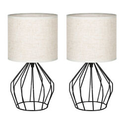 2Pcs Modern Lamp Bedside Table Lamp Geometric Desk Lamp with White Fabric Shade $35.99