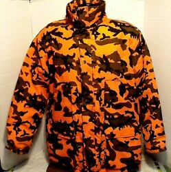 Winchester Conceal Orange Camo Hunting Jacket Coat Hooded Full Zip SZ MED VGC