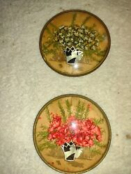 2 Antique Vintage Wall Hanging Convex Bubble Glass Dried Flower Picture $17.99