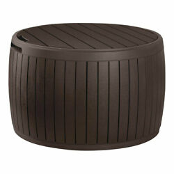 Keter Circa Patio Deck Storage Box and Table for Outdoor Furniture Decor Brown $94.99