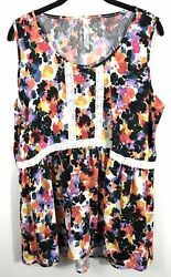 NY Collection 1X Top Blouse Shirt Sleeveless Tank Crochet Plus Size New $18.99