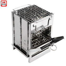Portable Stainless Steel Camping Wood Alcohol Burning Stove Outdoor Picnic BBQ $19.98