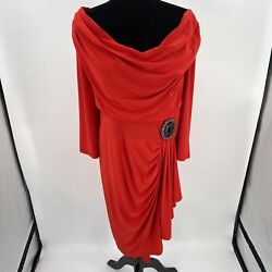 EY Signature Goddess Dress Womens 1X Orangey Red Brooch Drape Plus Occasion $24.95