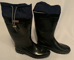 Tommy Hilfiger Womens Rain Boots Size 8 US Black Boots Small Tear See Pictures $21.99