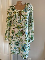 Tommy Bahama Beach Cover Up Long Bell Sleeve White Green Floral Multicolor Sz M $21.00