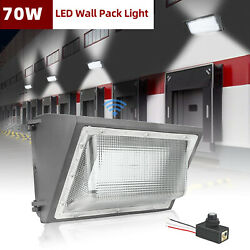 70W Outdoor LED Wall Pack Light w Sensor Commercial Street Security Lights IP65