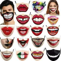 Women Funny 3D Red Lips Print Face Mask Cycling Washable Reusable Travel Mask $2.98