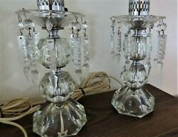PAIR OF VINTAGE MANTLE TABLE LIGHTS WITH ETCHED GLASS LAMPS $145.00