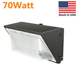 70W LED Wall Pack Light w Photocell 5500K White Outdoor Commercial Lighting IP65