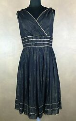 Adrianna Dress Silk Black w Gold stripes Cocktail Sleeveless Sequins Pleated 10