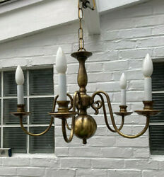 Vintage Colonial Antique Brass Chandelier Five Arm $225.00