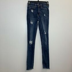 Hollister Women#x27;s Distressed Denim Blue Jeans Size 00 Long High Rise Skinny