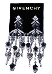 Givenchy Crystal Chandelier Earrings Black amp; Hematite Tone 3 1 2quot; Drop NEW $65.00