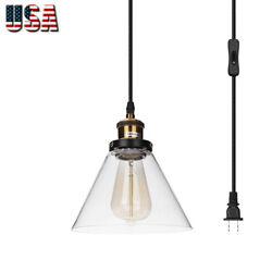 Vintage Industrial Pendant Light Hanging Glass Ceiling Lamp Shade Loft Fixture $30.99
