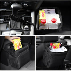 Car Trash Can with Lid Hanging with Storage Pockets Collapsible Car Garbage Bin $10.99