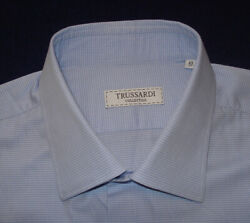 TRUSSARDI LIGHT BLUE WHITE CROSS STRIPED SHIRT 17 43cm. DESIGNER SHIRTS.