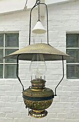 Antique Country Store Saloon Hanging Oil Lamp Electrified Late 1800#x27;s $525.00