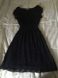 Navy Blue Knee Lenght Lace Dress $10.00