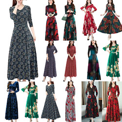 Elegant Womens Long Sleeve Maxi Dress Party Evening Gown Floral Print Ball Gown $16.24