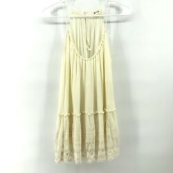 PPLA Chaser Cream Lace Halter Style Tunic Top Boho Size Extra Small XS $12.99