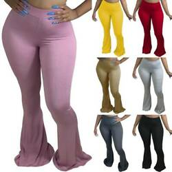 Women#x27;s High Waist Bell Bottom Casual Club Party Long Pants Bodycon Trousers New $16.79