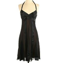 BCBGMAXAZRIA Womens Silk Black Cocktail Halter Dress Size 4