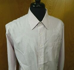 Nordstrom Mens Dress Shirt 16 33 Pink Stripe 100% Cotton NWOT MS151 $12.99