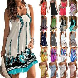 Ladies Floral Sleeveless Beach Party Mini Dress Summer Holiday Sundresses Casual $11.99