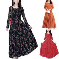 Women Long Sleeve Floral Casual Maxi Dress Party Gown Evening Slim Swing Dress $16.09