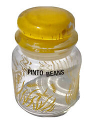 Canister vintage yellow wheat glass kitchen decor storage jar with suction lid $7.00