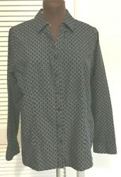 Womens CHICO#x27;S NO IRON Black White Button Front Shirt Size 0 4 6