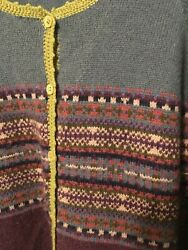 LLBean women#x27;s lambswool sweater M blue purple striped with lime accent $16.00