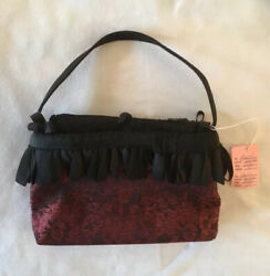 BLACK EVENING BAG WITH SEQUINS AND FRINGE Angelina Brand Mini In EUC
