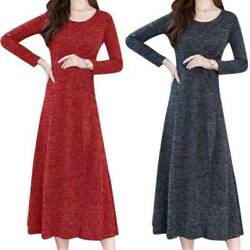 Women#x27;s Long Sleeve Maxi Dress Casual Party Solid A Line Long Dresses Plus Size $16.33