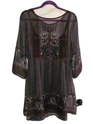 Rubbish Womens XL Gray Burgundy Floral Paisley Layered Bohemian Dress $14.95