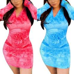 Women#x27;s Tie Dye Long Sleeve Bodycon Mini Dress Pencil Dress Party Gown Clubwear $20.89