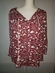 Ann Taylor Loft Womens Size M Floral Blouse Boho Shirt with ties NWT $49 $17.77