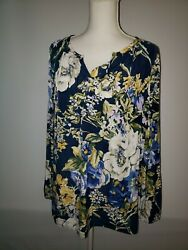 Chicos Size 3 Womens Size XL 16 Blue Floral Blouse Satin Feel Spring Top EUC $13.99