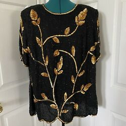 STENAY 3x vintage sequined Beaded Top Black Gold Formal Party Evening $40.00