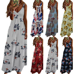 Women Floral Sleeveless Maxi Dress Strappy Holiday Summer Camisole Long Dresses $18.33