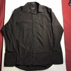 Amanti Italian Style Mens Dress Shirt Black Button Up Pocket 17.5 32 33 $19.95