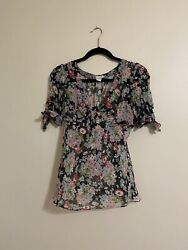Anthropologie Odille Sheer Silk Blouse Womens Size 8 $25.00