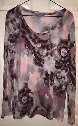 NEW SIMPLY VERA WANG BURGUNDY ABSTRACT FLORAL EXTRA LARGE XL NWOT LONG SLEEVE $15.50