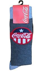 New COCA COLA Mens Novelty Crew Socks JULY 4th PATTERN Size 10 13 $5.99
