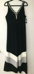 Style amp; Co Women#x27;s Maxi Dress Black Color Block Stretch Smocked Beads XL New $24.99