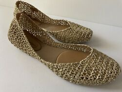 Melissa Campana Womens Shoes Gold Glitter Jelly Flats Round Toe Size 8 NWOB $35.00