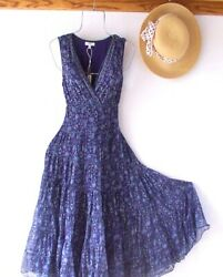 New $138 Blue amp; Green Floral Peasant Prairie Tiered Spring Boho Dress Size XL $68.95