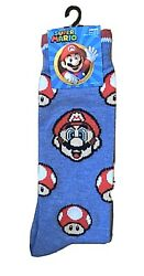 New Super Mario Mens Novelty Crew Socks With MARIO AND TOAD Size 10 13 $5.99