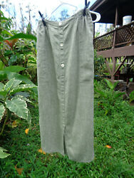 FLAX by Angelheart S Marled Green and White Linen Skirt Length 36quot; pre 1996 $52.00